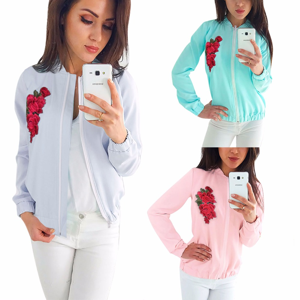 Zipper-Coat Spring Female Embroider Hot And Decorous Spicy Tasted Temperament Type America