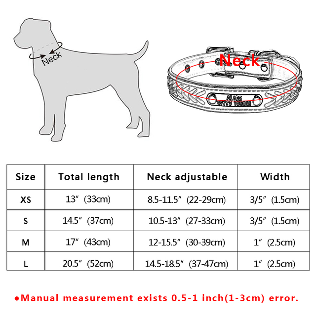 Personalized Engraved Dog Collar Braided Custom Leather Puppy Cat Pet Collars With Name Plate Phone ID Tag For Small Medium Dogs