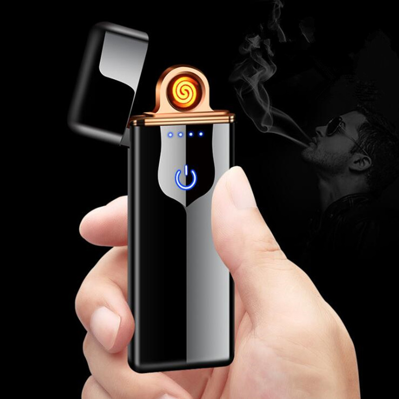 New USB charging Cigarette lighter Touch screen switch Double-sided electric lighter Windproof flameless Electronic lighters