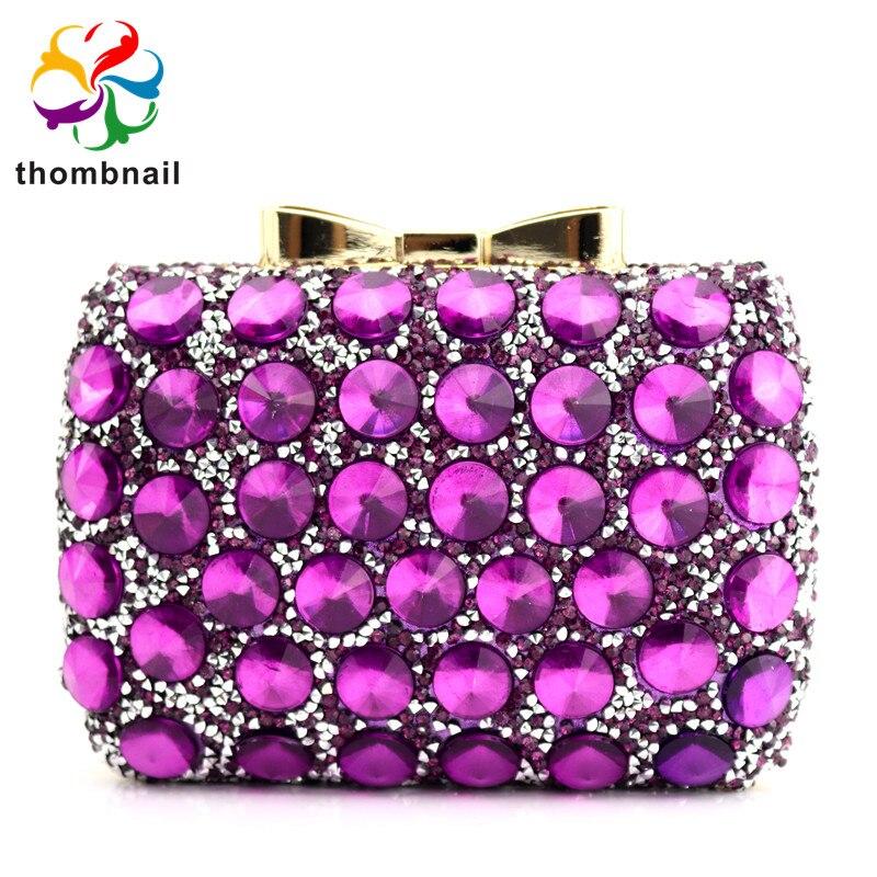 Elegant Purple Women Crystal Evening Bags Hollow Out Ladies Diamond Minaudiere Wedding Clutch Handbag And Purse