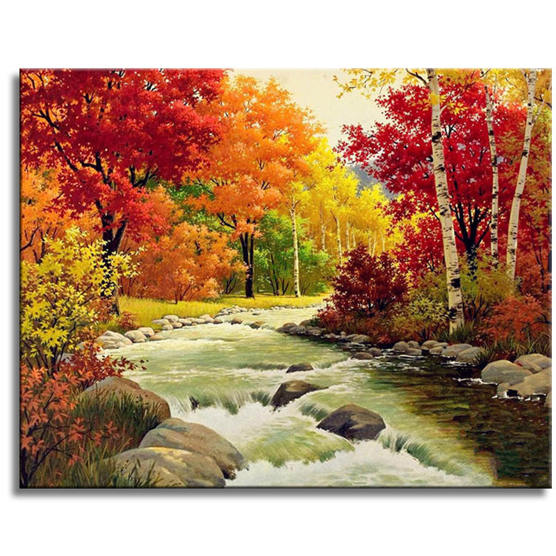 Diamond Painting Full Square Drill Autumn Red Trees River Daimond Painting Rhinestone Embroidery Cross Stitch Crystal Mosaic
