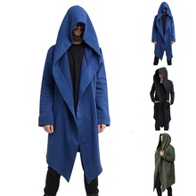 MJARTORIA Mens Open Front Long Sleeve Draped Lightweight Longline Hooded Cardigan Winter Coat with Pockets