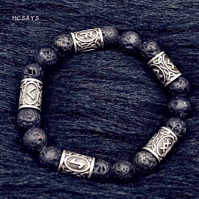 MCSAYS Norse Viking Jewelry Viking Rune Bead and Volcanic Stone Bead