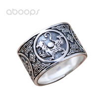 цена на 14mm Black Solid 999 Sterling Silver Chinese Ancient Four Mythical Creatures Ring for Men Size 8 9 10 11 12 Free Shipping