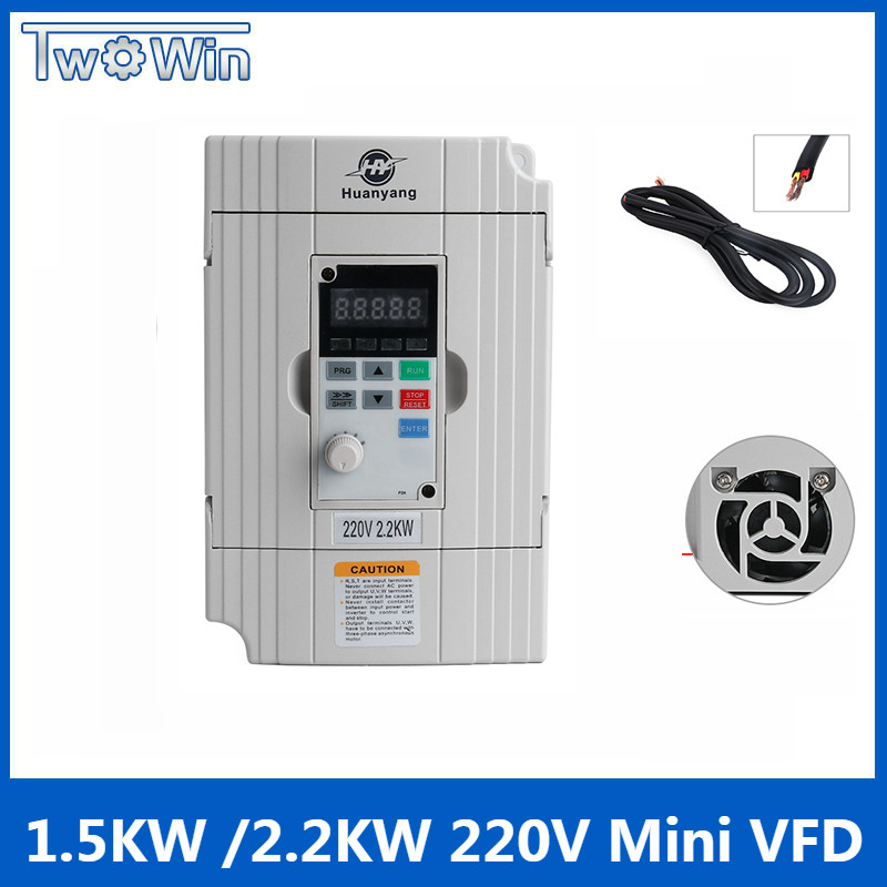 цена на 1.5kw 2.2kw 220v vector Inveter VFD inverter Mini Frequency Converter Variable Frequency Drive Motor Speed Control