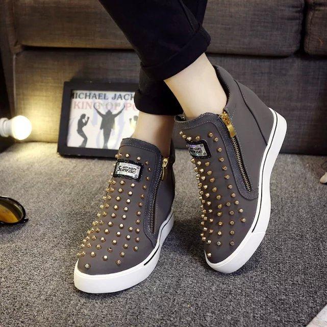Pour Les Muffin Paresseux Sauvage Fond Chaussures Femmes Haute Aider Épais gris Noir Fu À Rivet L'intérieur Lok Plat De Avec 6g6qa