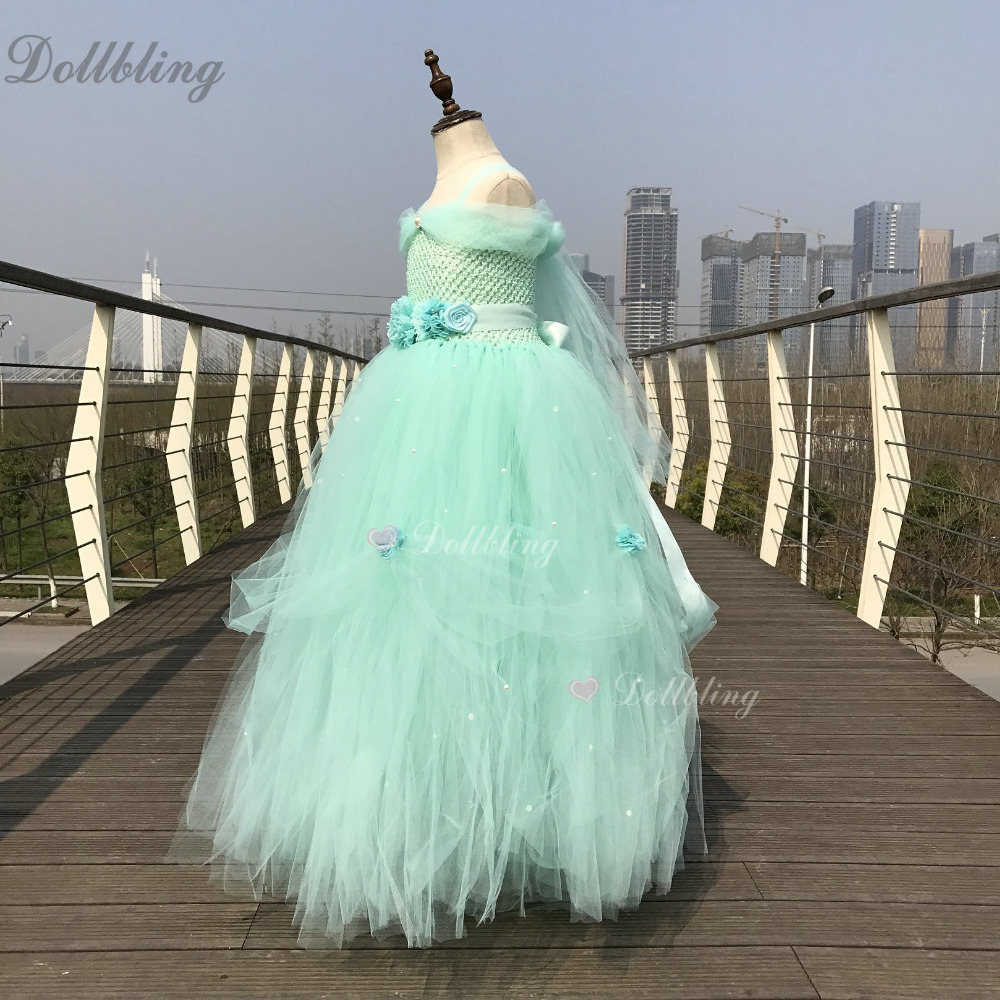 Ivory Baptism Design wedding Long tail Fluffy Tulle Flower girl Dress my 1st Birthday Performing etsy ball gown Party Dresses