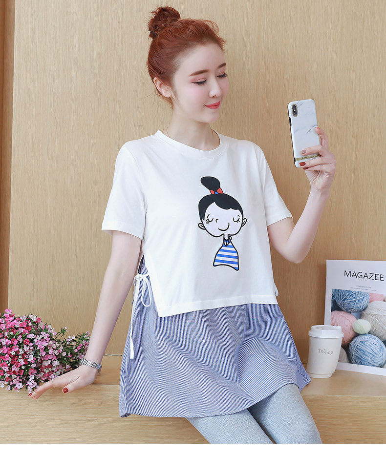 Cartoon Maternity Tops Tee for Pregnant Women Clothes Cotton Shorts Sleeve Top Pregnancy ...