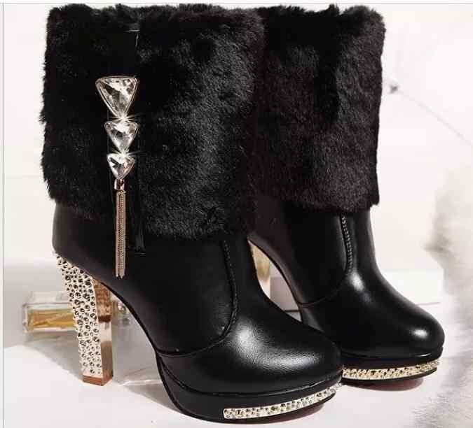 Yeni kış Yüksek Topuklu Tavşan Kürk Botları Kadın Peluş Sıcak platform ayakkabılar Zarif Kristal Lady Düğün Parti Yüksek topuklu ayakkabılar