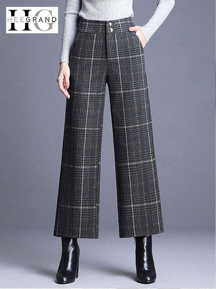 HEE GRAND Plaid Wool Trousers Women 2018 Winter OL Ankle Length   Pants   Ladies   Wide     Leg     Pants   High Waist Loose Trousers WKX470