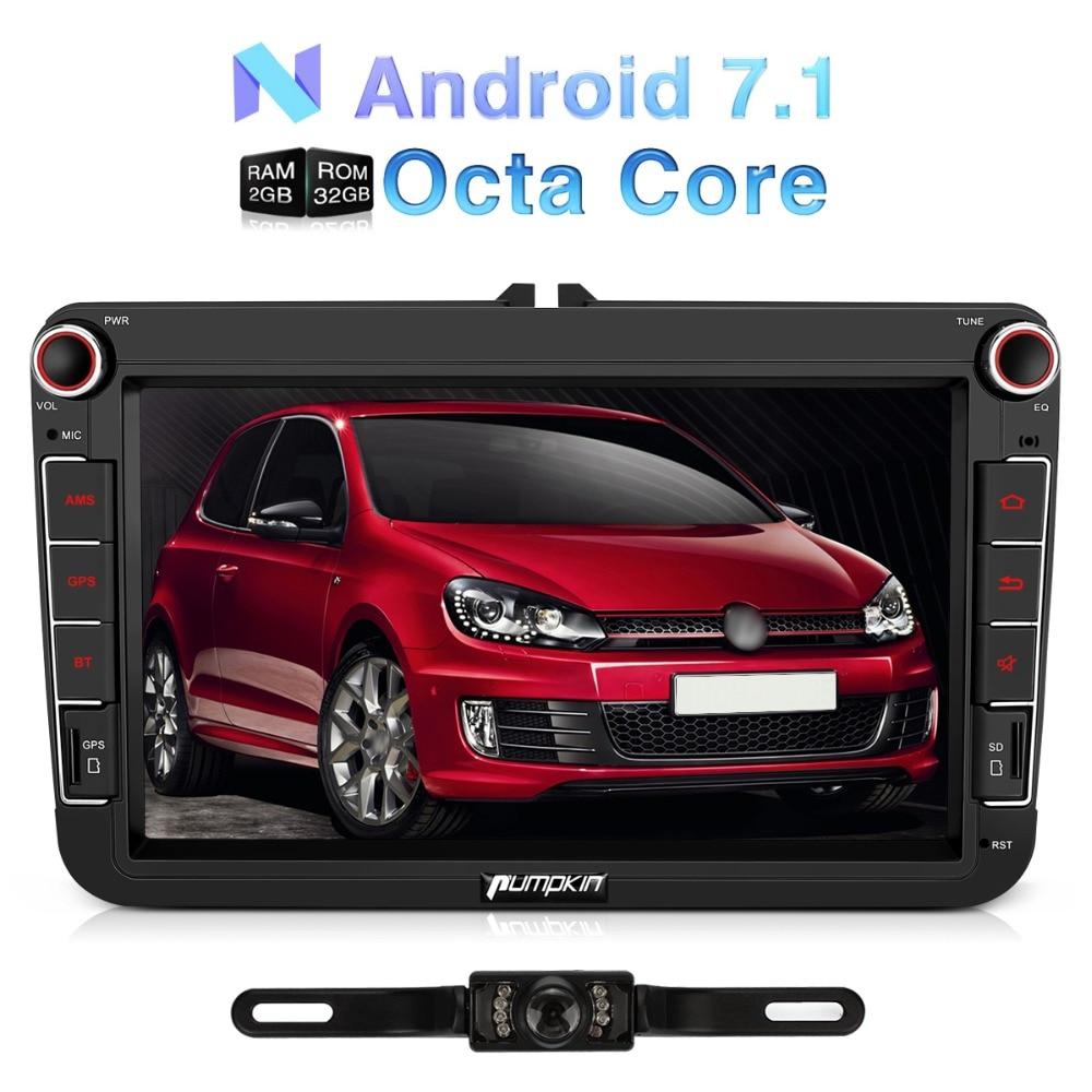 Citrouille 2 Din 8''Android 7.1 Universel De Voiture Radio No DVD lecteur GPS Navigation De Voiture Stéréo Pour VW/Golf/Leon Wifi 3G OBD2 Headunit
