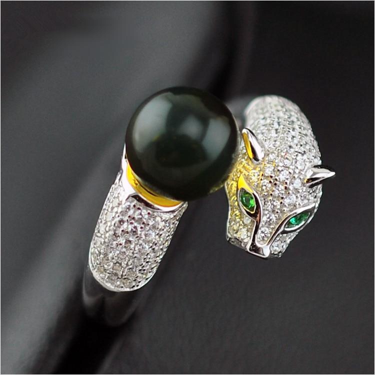 Bague en ambre bleu naturel 925 en argent Sterling panthère léopard cristal de mode bijoux élégants cadeau de pierre de naissance reine
