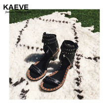цена на Fashion Design Jaeryn Studded Leather Sandals Rivets Combat Ankle Booties High Thick Heel Shoe Open Toe Sexy Summer Woman Sandal