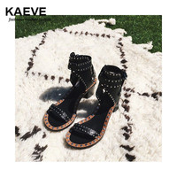 Fashion Design Jaeryn Studded Leather Sandals Rivets Combat Ankle Booties High Thick Heel Shoe Open Toe