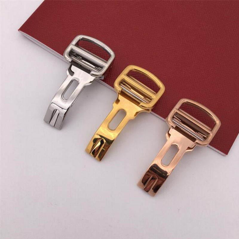 14mm 16mm 18mm 20mm Stainless Steel Watch Band Buckle Strap Rose Gold For Cartier Blue Balloon Tank Butterfly Folding Clasp
