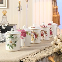 350 ml white rose Bone China Mug with lid and spoon Quality Goods Gold Plating Ceramic Cup Fashion floral Design