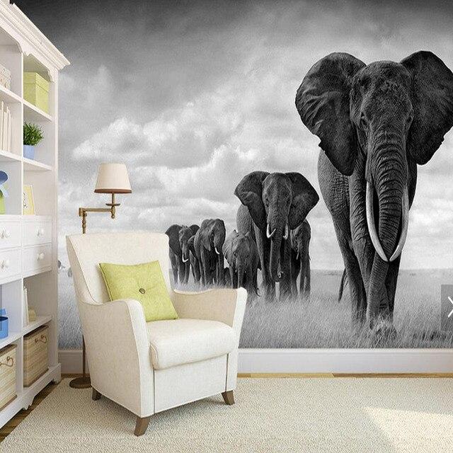 Black White Elephant Move Wallpaper Murales De Pared 3d Photo Mural For Coffee Shop Restaurant Wall