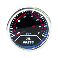 Free Shipping 52mm Racing Car Oil Pressure Gauge With Sensor Red LED Light Indicator Control Auto