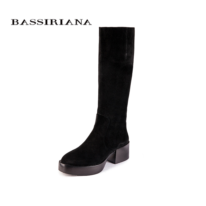 BASSIRIANA platform winter boots knee-high shoes for woman Big size 35-40 Black suede and black leather Free shipping цены онлайн