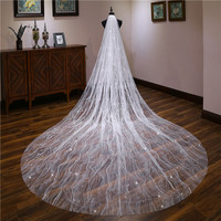 Sparkling 2019 Sequins Long Bridal Veil 3M Cathedral Veil ivory Long Bridal Wedding Accessories Hair Accessories