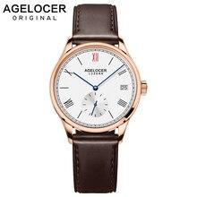 AGELOCER Switzerland Women Brown Strap Dress Watches Luxury Gold Female Casual Watch Ladies Sapphire Mechanical Watch