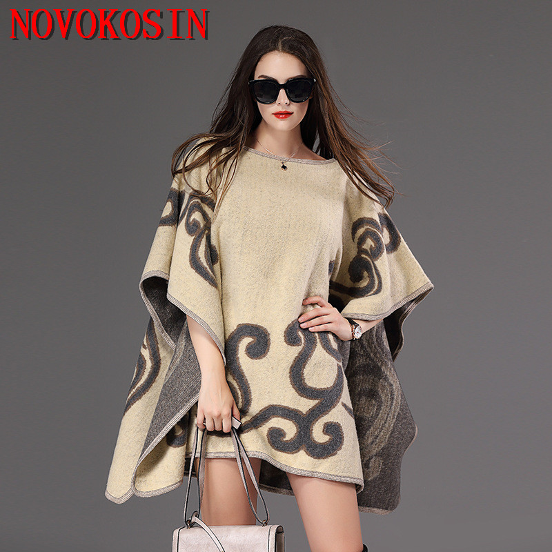 SC150 2018 Plus Size Knitted Loose Women Poncho Autumn Winter Sweater Fashion Casual Bat Sleeves Printed Pullovers Lady Coat
