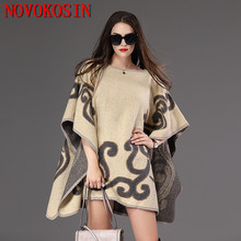 SC150 2018 Plus Size Knitted Loose Women Poncho Autumn Winter Sweater Fashion Casual Bat Sleeves Printed Pullovers Lady Coat casual black loose bat wing sleeves design sweater