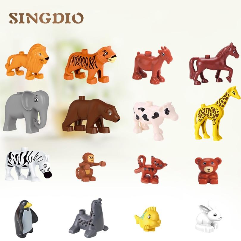SINGDIO 24pcs / lot 빌딩 블록 완구 대형 입자 동물 DIY 동물원 세트 벽돌 교육 완구 dduplo와 호환 가능