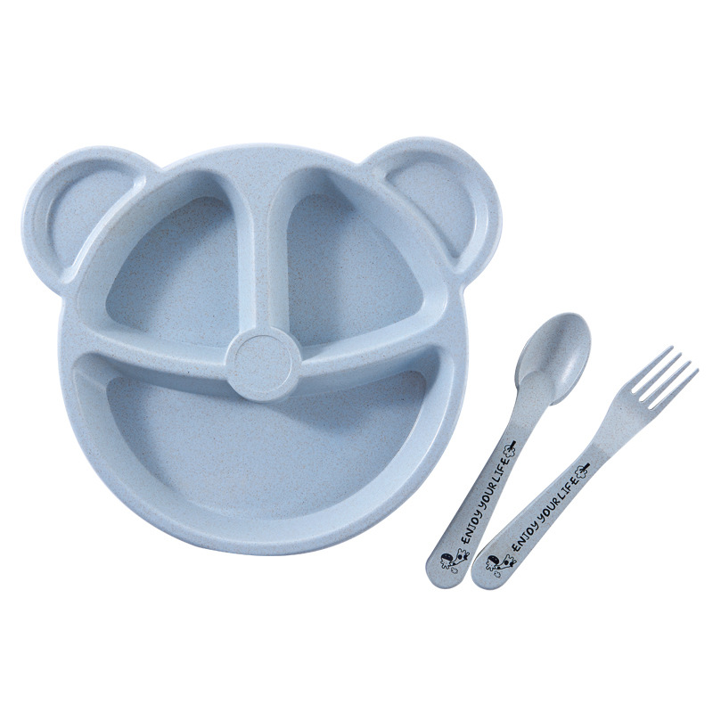 3Pcs/Set Cartoon Baby Tableware Bowl Spoon Fork Wheat Straw Divided Plates Children Toddler Feeding Food Dinnerware Dishes T2162