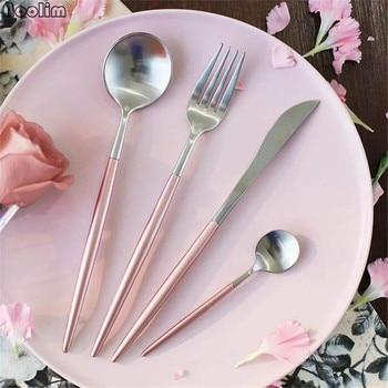 4Pcs Black/Rose Gold Dinnerware Set Stainless Steel Plating Knife Fork Tableware Cutlery Chic Elegant European Western Food Set