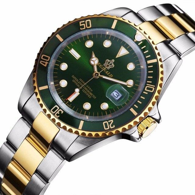 ساعة يد أنيقة للرجال من الفولاذ المقاوم للصدأ باللون الذهبي من reginالجهة العصرية لعام 2016 مقاومة للماء