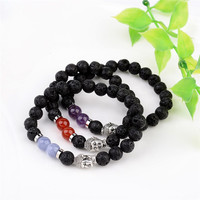 Natural Lava Bead Stretch Bracelets, with Natural crystal Beads and Alloy 3D Buddha Head Beads, Antique Silver, 55mm