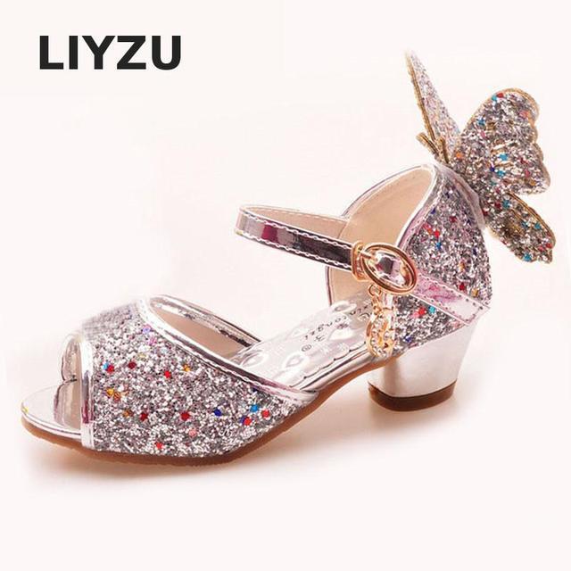 الفتيات عالية الكعب الأميرة الصنادل الأطفال أحذية بريق الجلود فراشة الفتيات الاطفال أحذية للحزب فستان حفل زفاف الرقص