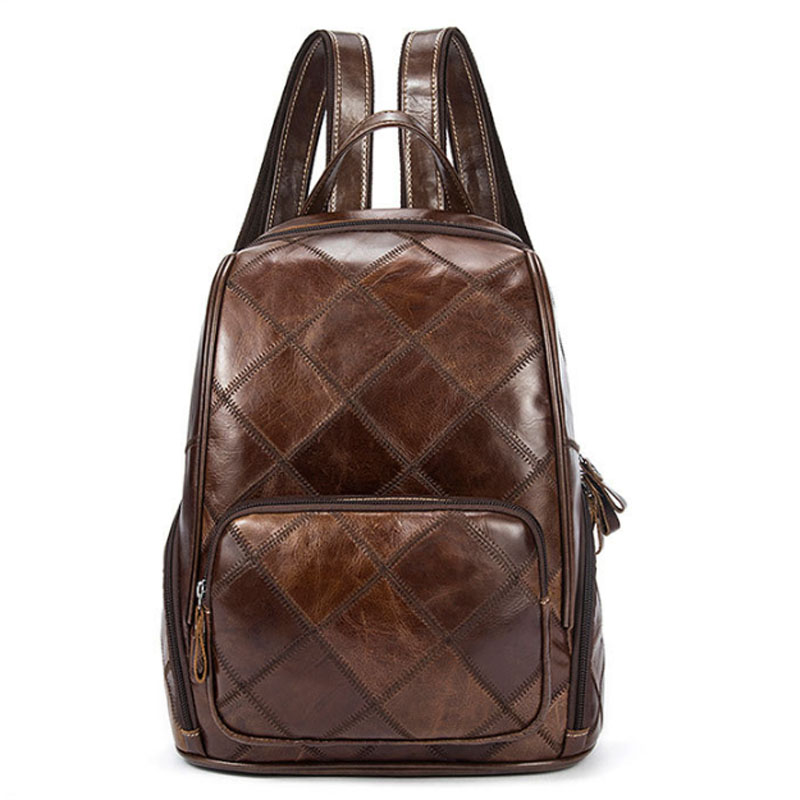 YIANG Plaid Women Backpack Genuine Leather Backpack for Teenage Girls Backpacks Female School Bags Leather Laptop Backpacks hot sale women s backpack the oil wax of cowhide leather backpack women casual gentlewoman small bags genuine leather school bag