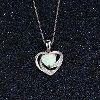 Genuine 925 Sterling SIlver Fine Jewelry Opal & AAA Cubic Zirconia Heart Pendant Necklaces For Women Anniversary Jewelry GIfts