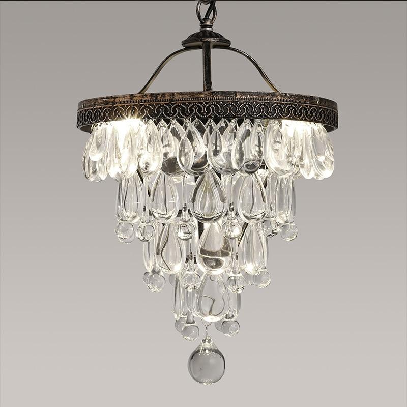 Luxury Vintage Loft Water Drop K9 Crystal Ceiling Light