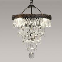 Luxury Vintage Loft Water Drop K9 Crystal Ceiling Light Pendant Lamp Chandelier Cafe Bar Dining Room