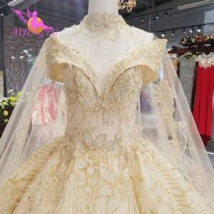Image 3 - Aijingyu princesa vestidos de casamento sexy pêssego recepção glitter vestido de casamento curto