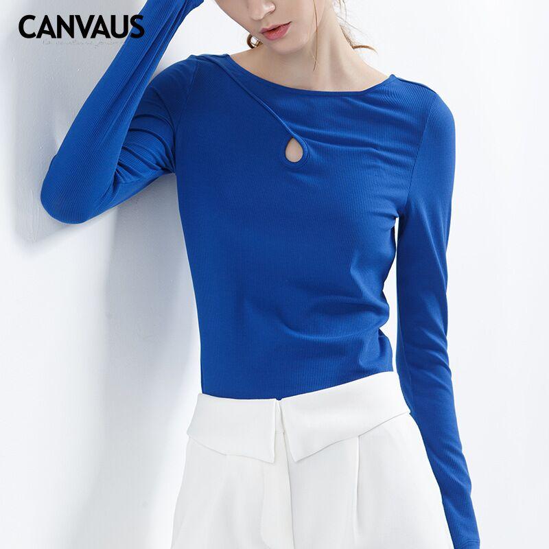 CANVAUS joli t-shirt en coton, femmes couverture en coton, t-shirts femme de base, chemise col en v classique, mode fille coton fullovers nouveau YM0161