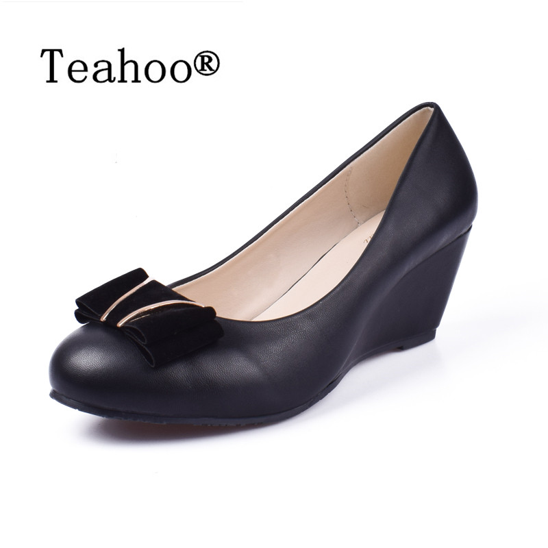 2017 Women Fashion Comfortable Wedges Shoes Heels Round Head Black High Heels For Women Soft Pumps Bowtie Casual Working Shoe 41