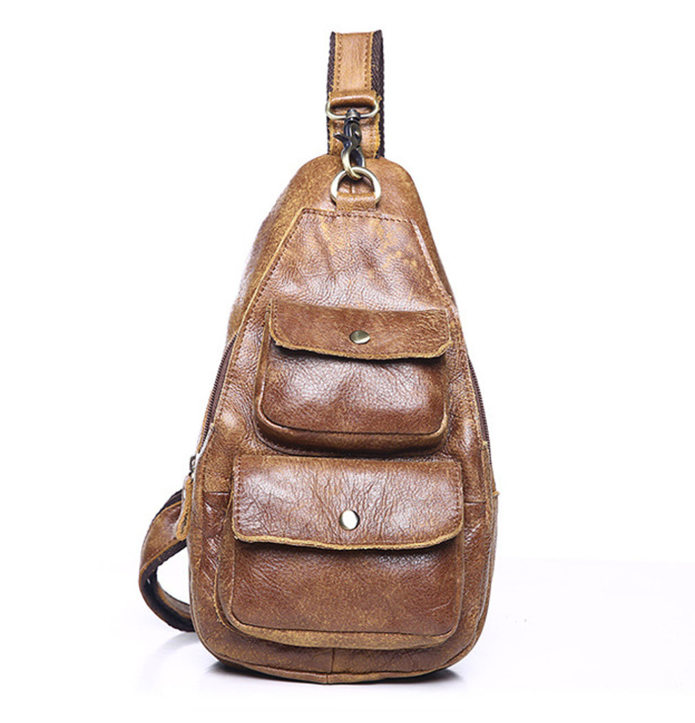 Men Vintage Genuine Leather Sling Chest Bag Back Day Pack Travel Riding Hiking Messenger Shoulder Pocket High Quality 2018 New men vintage genuine leather travel riding motorcycle messenger shoulder sling day pack chest bag