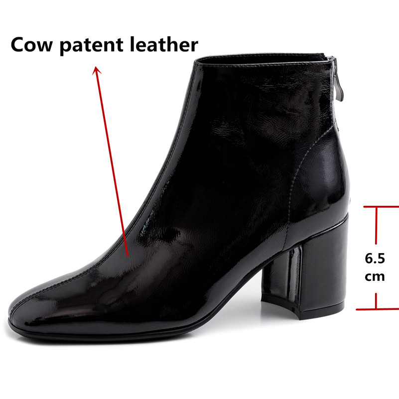 Image 3 - FEDONAS Brand Winter Women Ankle Boots Fashion Square Toe High Heels Genuine Cow Patent Leather Chelsea Boots Party Shoes Woman-in Ankle Boots from Shoes