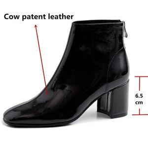 Image 3 - FEDONAS ฤดูหนาวผู้หญิงข้อเท้ารองเท้าแฟชั่นสแควร์ Toe รองเท้าส้นสูงของแท้ COW สิทธิบัตรหนังเชลซีรองเท้า PARTY รองเท้าผู้หญิง