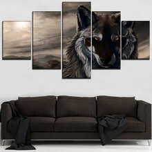 Abstract Wolf Painting Modern Wall Art Decorative Framework 5 Panel Animals Poster Canvas Printing Type Unique Modular Picture