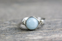 Silver Wire Wrapped Aquamarine Ring Handmade Sterling Silver Filled Ring Fashion Unique Women Gift Crystal Jewelry