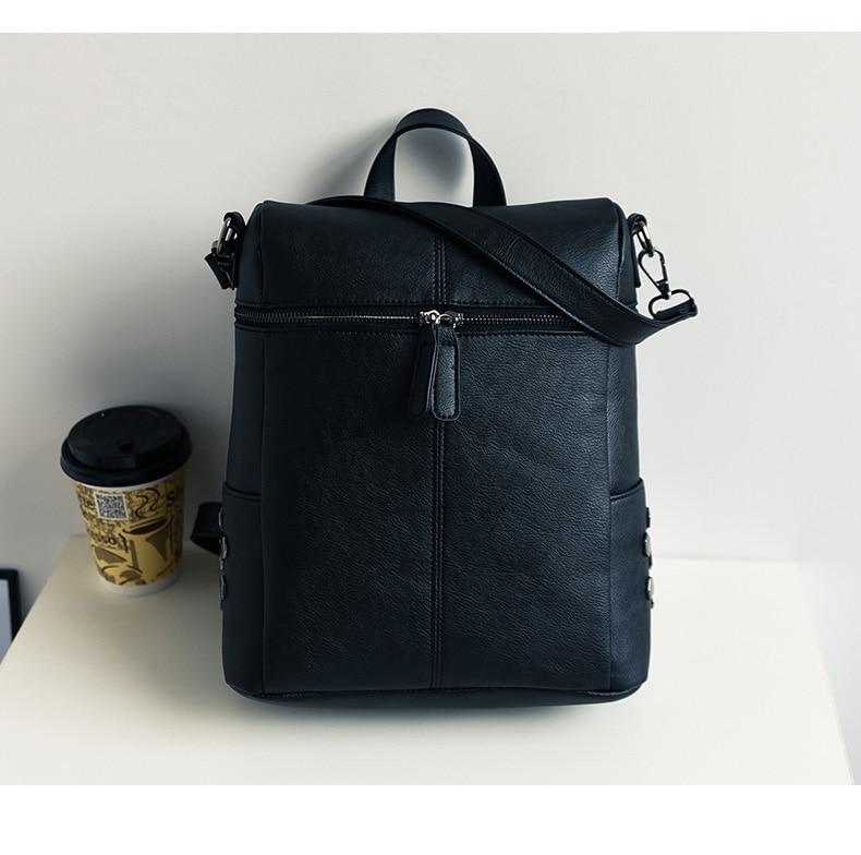 HTB1RLPba6nuK1RkSmFPq6AuzFXa3 Simple Style Backpack Women Leather Backpacks For Teenage Girls School Bags Fashion Vintage Solid Black Shoulder Bag Youth XA568