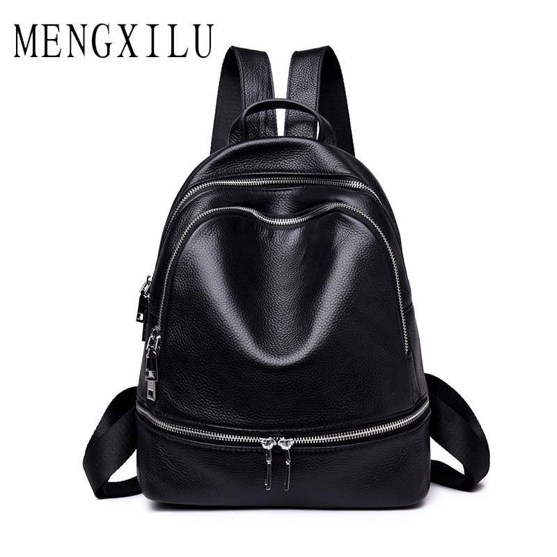 MENGXILU Genuine Leather Backpack Women Students School Bags Teenagers Girls Small Backpacks Women Travel Bag Mochila Bolsas