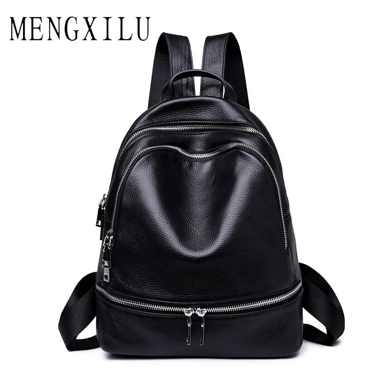 MENGXILU Genuine Leather Backpack Women Students school bags teenagers girls small backpacks women travel bag mochila