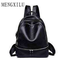 MENGXILU Genuine Leather Backpack Women Students school bags teenagers girls small backpacks women travel bag mochila bolsas