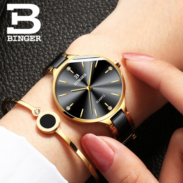 Zegarek damski Switzerland BINGER Fashion Women Watch Luxury Brand Bracelets Ceramic Watch band Sapphire Waterproof Montre femme 3